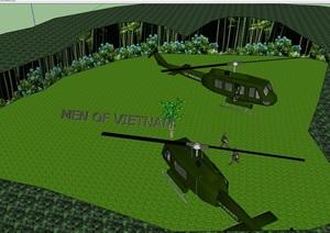 两架直升机设计SU(草图大师)模型