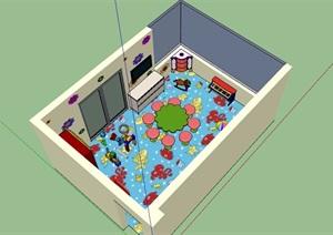 儿童教室室内SU(草图大师)模型