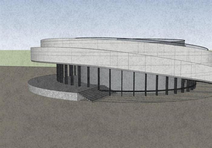 參數化小型螺旋形坡道圓形文化建筑展覽博物館(1)