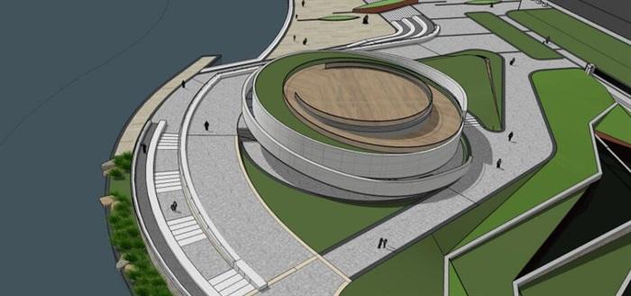 參數化小型螺旋形坡道圓形文化建筑展覽博物館(2)