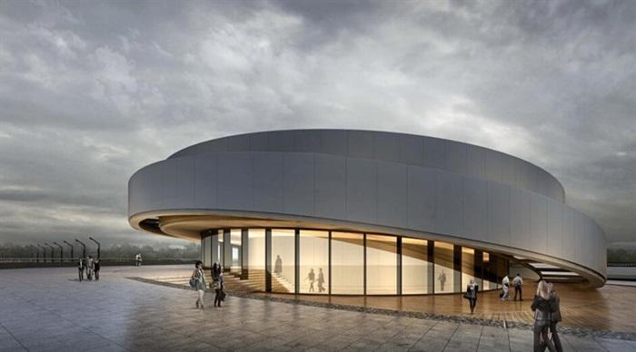 參數化小型螺旋形坡道圓形文化建筑展覽博物館(4)