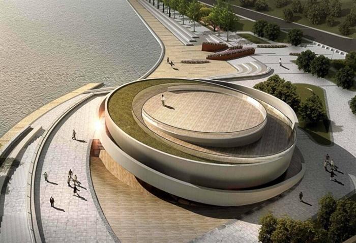 參數化小型螺旋形坡道圓形文化建筑展覽博物館(5)