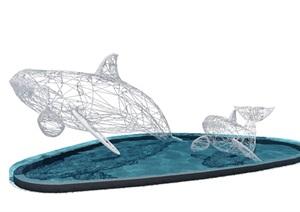 线框鲸鱼3d模型 ps抠好的单体