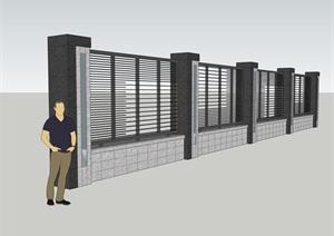 新中式围墙CAD SU(草图大师)