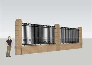 欧式围墙,SU(草图大师)模型,CAD施工图