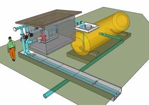 某散水配管素材設計SU(草圖大師)模型