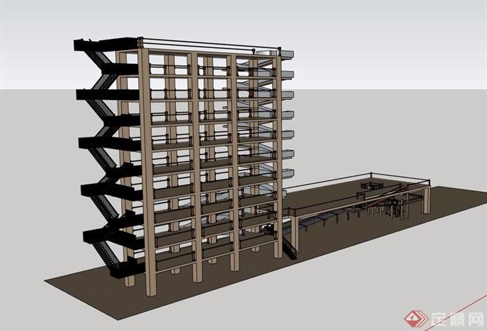 某框架建筑素材设计su模型[原创]