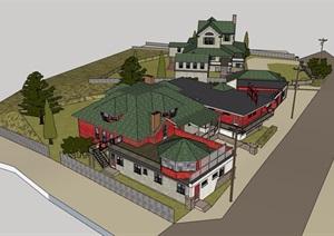 欧式风格汽车旅馆建筑SU(草图大师)模型