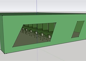 单层办公室SU(草图大师)模型