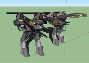 两个机器人素材设计SU(草图大师)模型