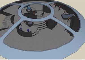 现代控制办公室设计SU(草图大师)模型
