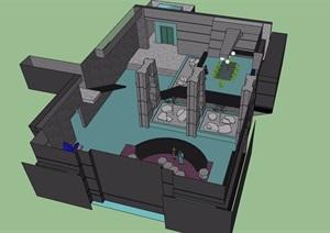 现代风格室内简单别墅空间SU(草图大师)模型