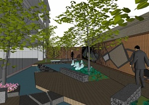 日式禅意木格栅景墙庭院水景景观设计