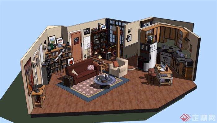 现代住宅室内空间部分设计su模型[原创]