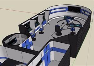 某控制办公室SU(草图大师)模型