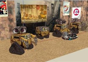 机器人素材多个设计SU(草图大师)模型