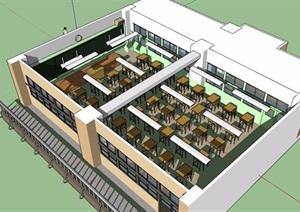 教室室内详细空间设计SU(草图大师)模型