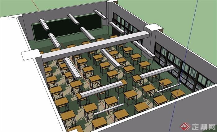 教室室内详细空间设计su模型