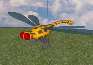 蜻蜓素材设计SU(草图大师)模型