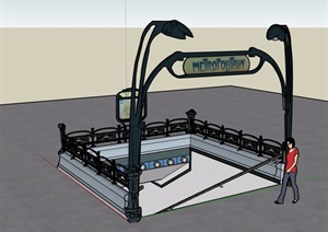地下室入口素材設計SU(草圖大師)模型