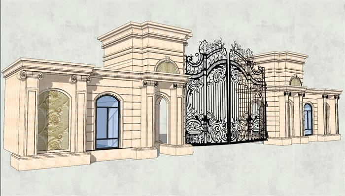 欧式风格某住宅区铁艺大门设计su模型 7[原创]