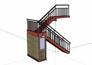 某室内楼梯详细设计SU(草图大师)模型