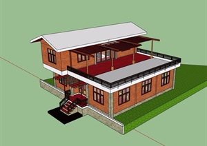 某中式两层私人住宅别墅SU(草图大师)模型