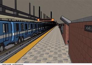 某车站室内详细设计SU(草图大师)模型