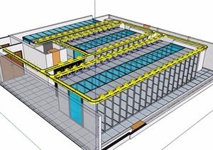 计算机机房室内SU(草图大师)模型