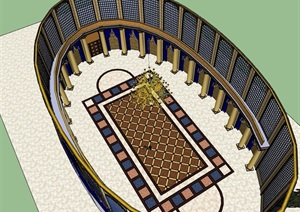 欧式风格详细的大厅室内SU(草图大师)模型