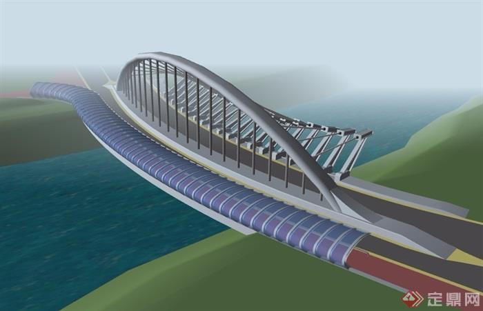 现代风格独特交通桥梁建筑su模型