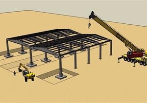 某建筑廊架素材設計SU(草圖大師)模型