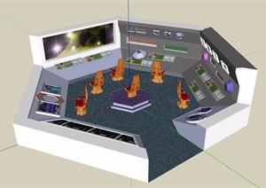 某监控办公室空间SU(草图大师)模型