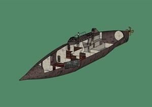 某潜水艇设计SU(草图大师)模型