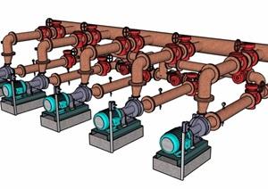 抽水机水管组合设计SU(草图大师)模型