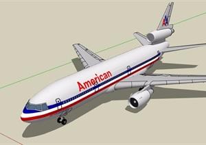 美国民航飞机设计SU(草图大师)模型