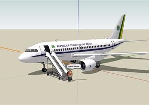 某详细交通工具飞机素材设计SU(草图大师)模型