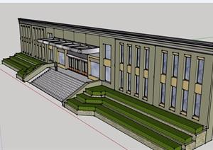 主楼台阶及墙体设计SU(草图大师)模型
