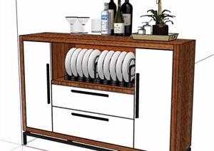 現代風格餐邊柜設計SU(草圖大師)模型