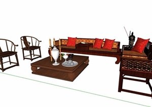 中式風格羅漢床沙發茶幾設計SU(草圖大師)模型