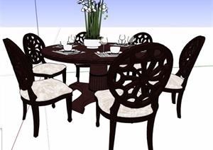 簡美風六人座圓形餐桌椅組合SU(草圖大師)模型