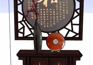 中式風格玄關柜斗柜設計SU(草圖大師)模型