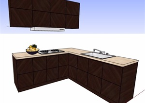 現代l型整體櫥柜設計SU(草圖大師)模型