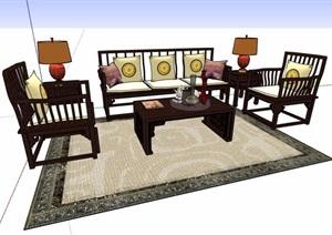中式風格精品沙發茶幾組合SU(草圖大師)模型