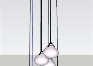 简约餐厅吊灯单体素材SU(草图大师)模型