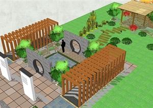独立小广场庭院SU(草图大师)模型参考