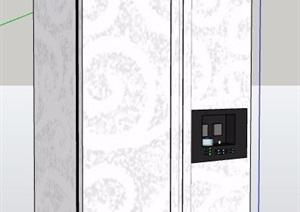 白色双开门冰箱SU(草图大师)模型