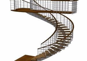 现代螺旋楼梯设计SU(草图大师)模型