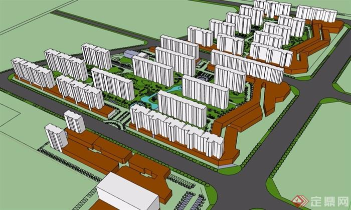 现代住宅小区景观简单设计su模型[原创]