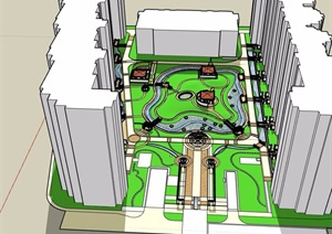 欧式风格详细的住宅小区景观SU(草图大师)模型